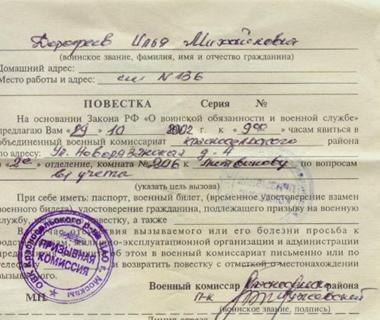Документы для получения военного билета: список